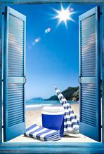 Open Blue Window And Fridge On...