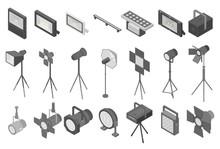 Spotlight Icons Set. Isometric Set Of Spotlight Vector Icons For Web Design Isolated On White Background