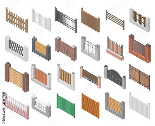 Obraz Fence icons set. Isometric set of fence vector icons for web design isolated on white background - fototapety do salonu