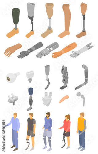 Artificial limbs icons set Canvas Print