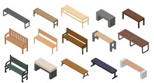 Bench Icons Set. Isometric Set...