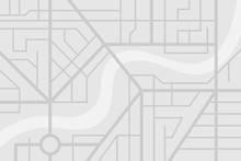 City Street Map Plan With River. Vector Gray Color Illustration Schema