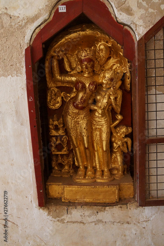 Buddhist statues inset in alcove of the Ananda Phaya Temple Canvas Print