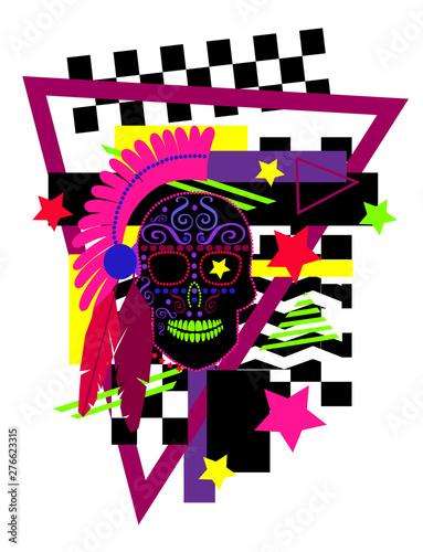 Indian skull icon vivid col...