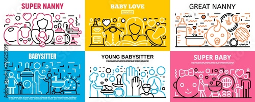 Child babysitter banner set Wallpaper Mural