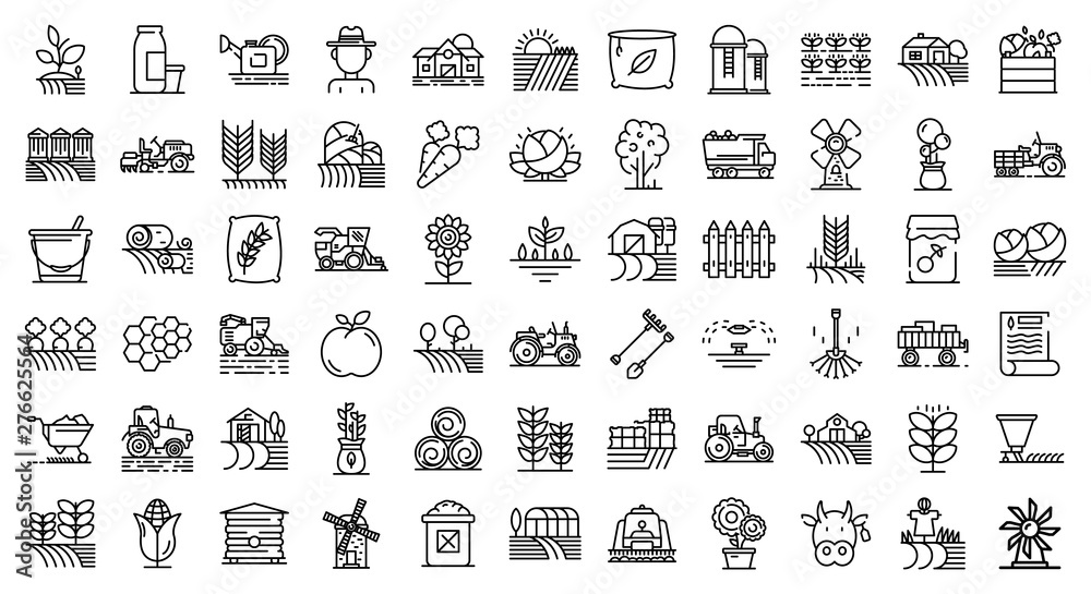 Fototapeta Farmer icons set. Outline set of farmer vector icons for web design isolated on white background
