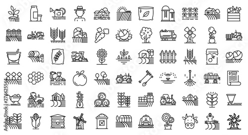 Fototapeta Farmer icons set. Outline set of farmer vector icons for web design isolated on white background obraz