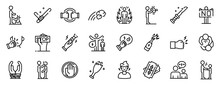 Violence Icons Set. Outline Set Of Violence Vector Icons For Web Design Isolated On White Background