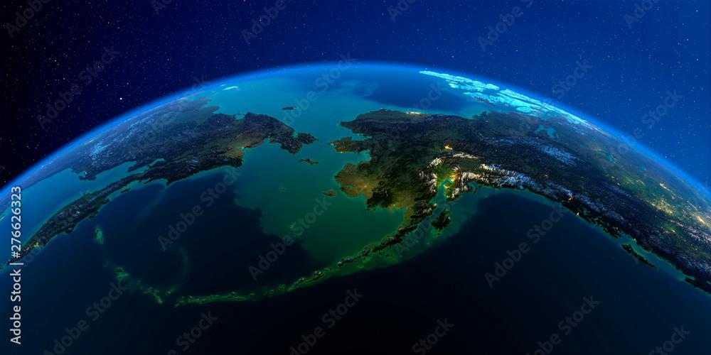 Fototapety, obrazy: Detailed Earth at night. Chukotka, Alaska and the Bering Strait
