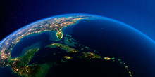 Detailed Earth At Night. Carib...