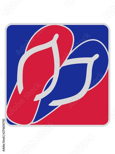 rot blau logo 2 schuhe paar flip flops sandalen füße