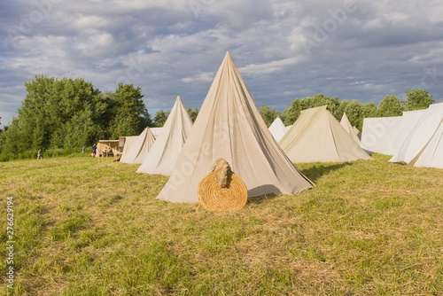 Vászonkép The tent camp of the early Middle Ages in summer at the festival