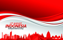 Vector Illustration Of Indonesia Flag For Poster. 17th August Indonesia Independence Day Concept.