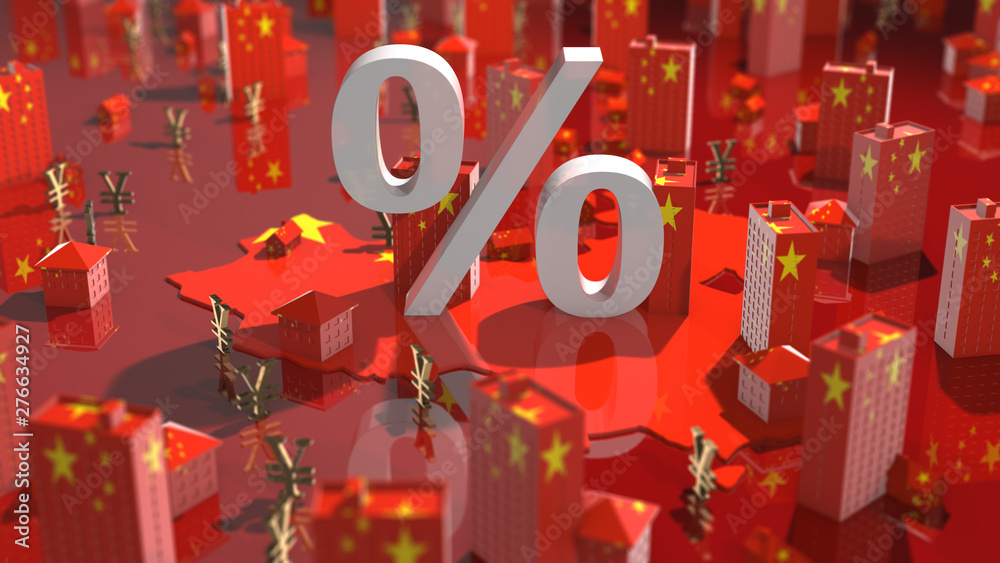 Fototapety, obrazy: China's population growth effecting real estate property housing market investment - 3D illustration render