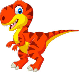 Cartoon tyrannosaurus isolated on white background
