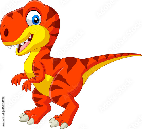 Fotografie, Obraz  Cartoon tyrannosaurus isolated on white background