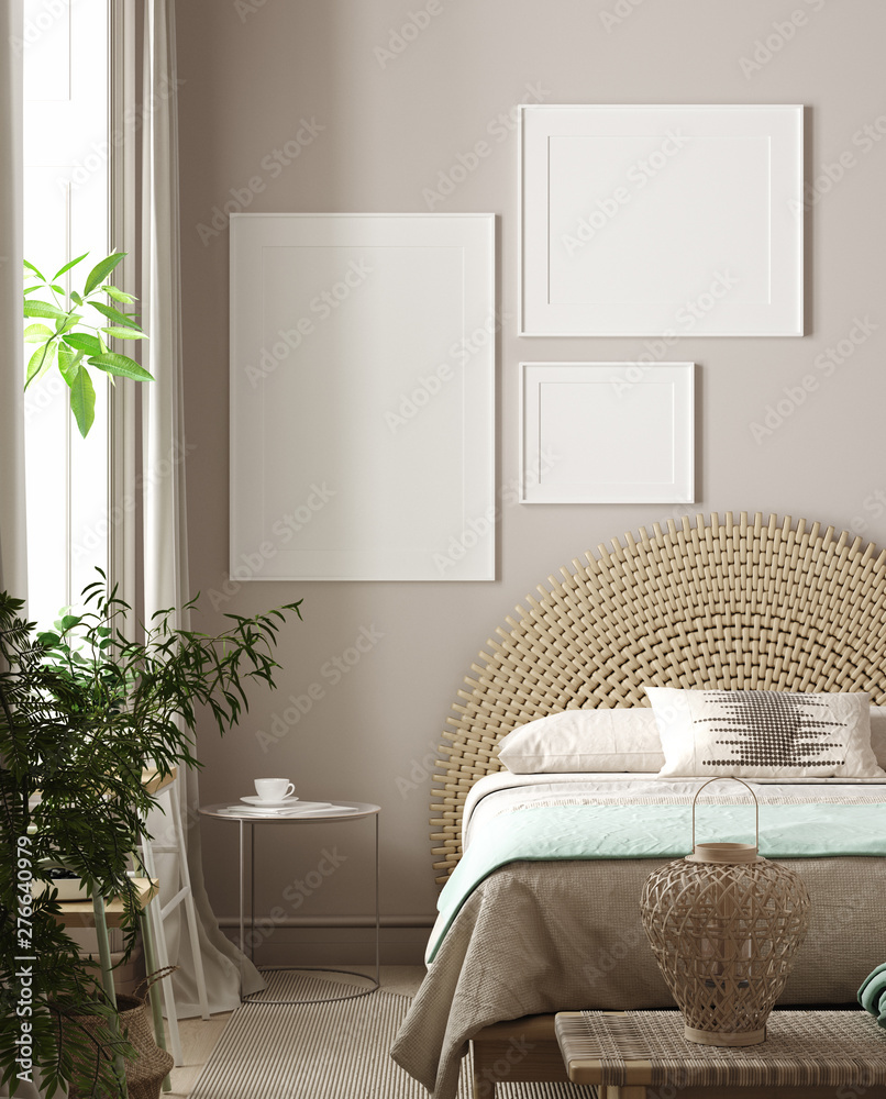 Fototapety, obrazy: Mockup poster in bedroom, Scandinavian style, 3d rendering