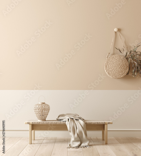 Fotografija  Scandinavian interior with bench, lamp and wicker handbag, wall mock up and mini