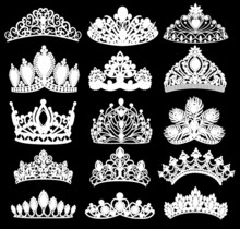 Illustration Set Of Silhouettes Of Ancient Crowns, Tiaras, Tiara
