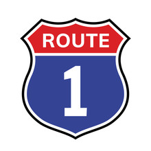 1 Route Sign Icon. Vector Road 1 Highway Interstate American Freeway Us California Route Symbol