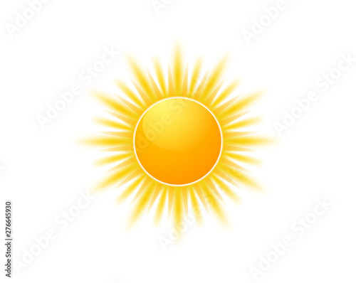 Fototapeta Realistic sun icon for weather design. Sunshine symbol happy orange isolated sun illustration obraz
