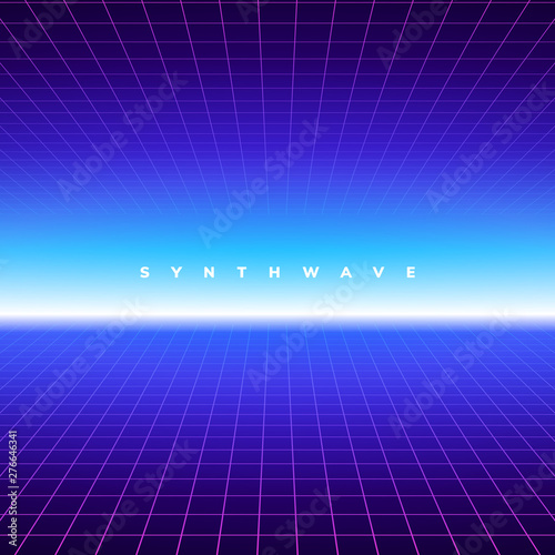 Synth wave retro grid background  Synthwave 80s vapor vector game