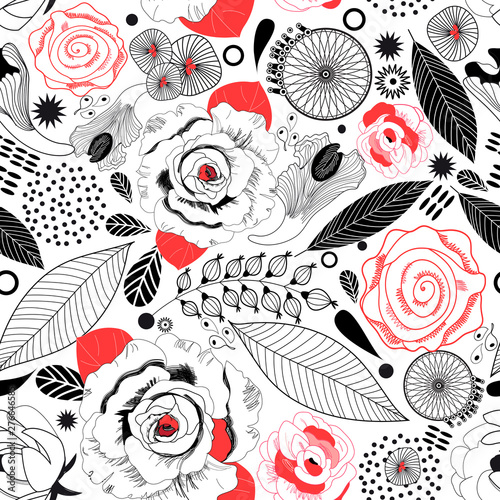 Graphic beautiful floral pattern of roses and leaves Wallpaper Mural