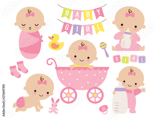 Fototapeta Vector illustration of pink baby girl set. Cute baby girl in a stroller with toys and accessories. obraz