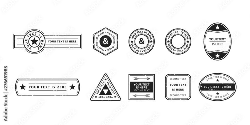 Fototapety, obrazy: Set of genuine vector stamps in retro style. Graphic design of empty post seals for travel concept