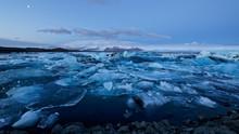 Iceland Beautiful Jökulsárlón Glacier Lagoon Before Sunrise During Winter