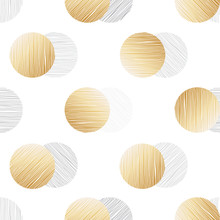 Soft Background With Gold Circles. Seamless Pattern, Vector Illustration