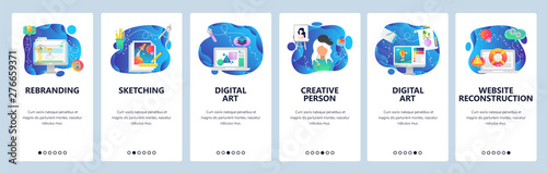 Valokuva  Website and mobile app onboarding screens vector template