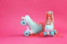 Vintage Roller Skates On Color...