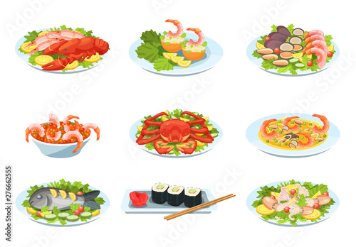 Obraz na plátně Set of festive seafood dishes, delicacies with beautiful presentation