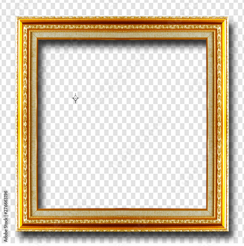 Pinturas sobre lienzo  Golden picture frame isolated on transparent