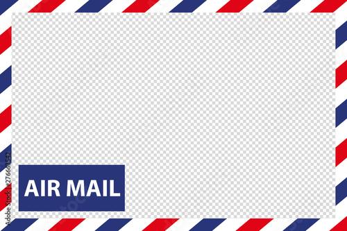 Photo Airmail Envelope Border - Vector Illustration - Isolated On Transparent Backgrou