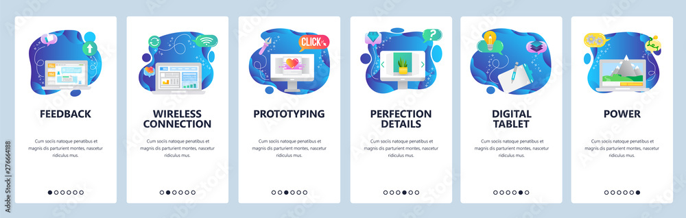 Fototapety, obrazy: Website and mobile app onboarding screens vector template