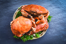 Cooked Crab On Steamer And Dark Background - Seafood Boiled Red Stone Crabs