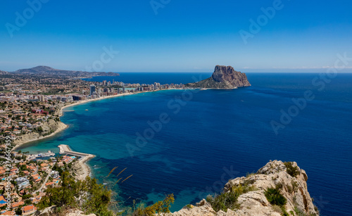 Beaches of Calpe and the natural park of Penyal d'Ifac on background, Spain