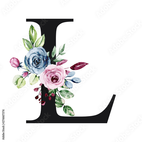 Fototapeta Floral Alphabet Letter L With Watercolor Flowers And Leaves Monogram Initials Perfectly For Wedding Invitation Birthday Greeting Card