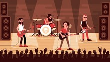 Rock Band Performs On Stage In Front Of A Crowd Waving Their Hands. Vector Flat Illustration.