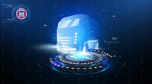 Autonomous Smart Truck. Unmanned Vehicles. Artificial Intelligence Controls The Autonomous Truck. Hologram Car Style In HUD,UI,GUI. Truck. Abstract Vector 3d Heavy Lorry Van. Vector Illustration