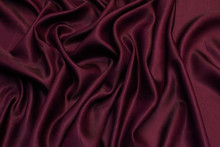 Silk Fabric With Viscose. Color Burgundy. Texture, Background, Pattern.