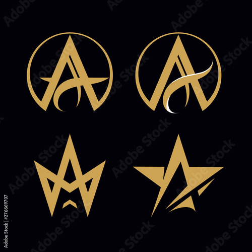 Photo  Vector logo. Letter A. Letter A stylized for a crown and a star