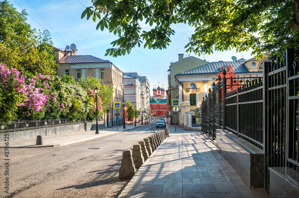 Петровский переулок и сирень Petrovsky Lane in Moscow with blooming lilac
