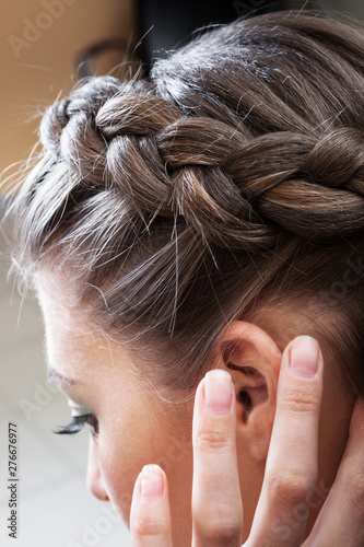 Fotografie, Obraz  hairstyle with a braid on girl's head