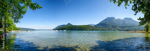 Poster Affiche vintage view of lake of Annecy, french Alps