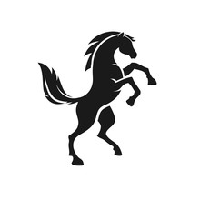 Standing Horse Side View Black Vector Silhouette Design