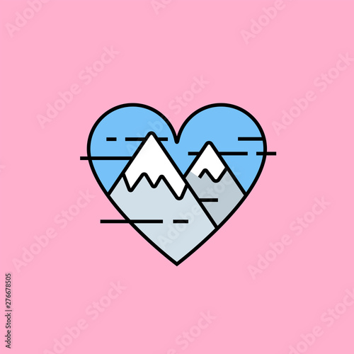 Heart mountains line icon Wallpaper Mural
