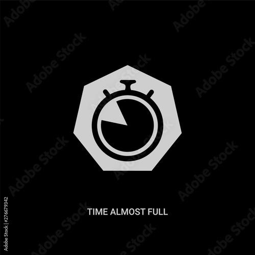 Fotografie, Obraz  white time almost full vector icon on black background